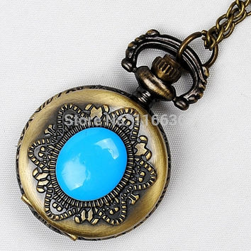 New Gothic Vintage green red and blue oval stone Pocket Watch Necklace Vintage old fashion oldies fashion woman Jewelry