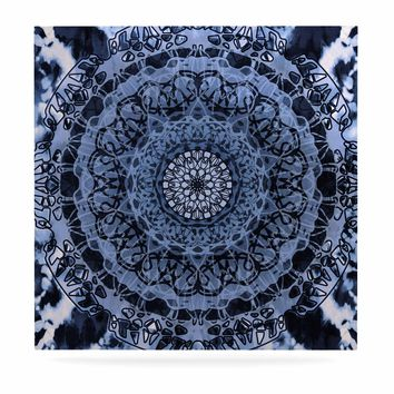 "Nina May ""Tie-Dye Mandala Jain Blue"" Blue White Watercolor Luxe Square Panel"