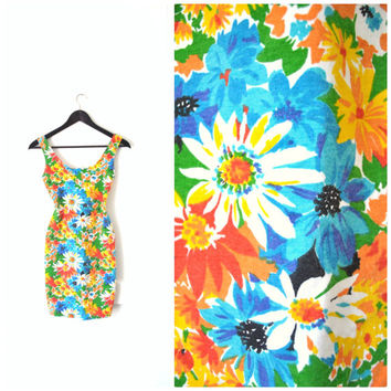90s BODYCON mini dress / club wear FLORAL daisy print bandage dress / extra small small