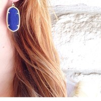 Elle Earrings in Navy Cat's Eye - Kendra Scott Jewelry