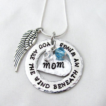 Hand Stamped Wind Beneath My Wings Necklace, Heart, Washer, Angel Wing, Birthstone, Mom, Dad