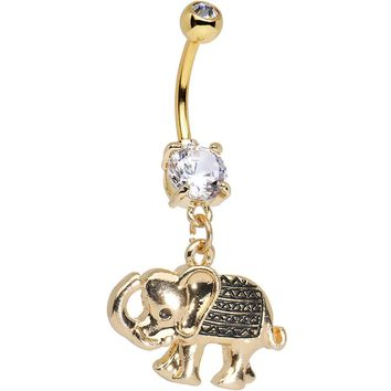 Clear Gem Gold Anodized Aztec Elephant Dangle Belly Ring