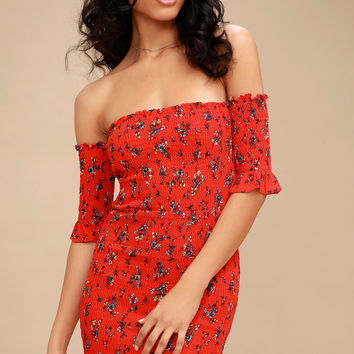 Serving Looks Red Floral Print Off-the-Shoulder Bodycon Dress
