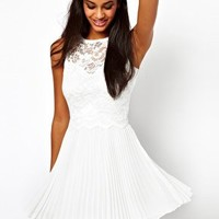 Elise Ryan Lace Skater Dress with Pleated Skirt