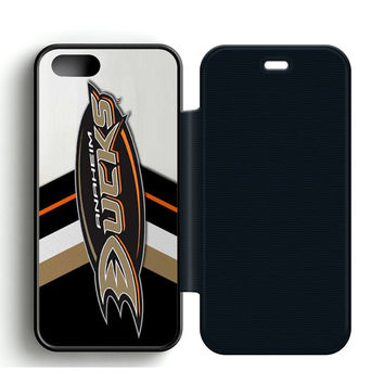 Anaheim Ducks Play Off Leather Wallet Flip Case iPhone 5 | 5S