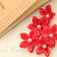 Red Satin Ribbon Flower - Handmade .. on Luulla
