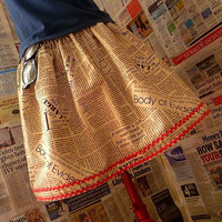 Indie Clothes Womens Indie skirt Newspaper Print Skirt by Roobys