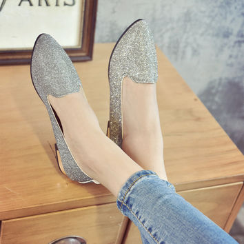 Women Loafers Pointed Toe Flat Sequined Shoes
