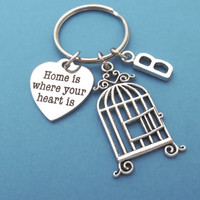 Personalized, Letter, Initial, Birdcage, Bird, Cage, Home is where your heart is, Home, Heart, Love, Keychain, Keyring, Key chain, Accessory