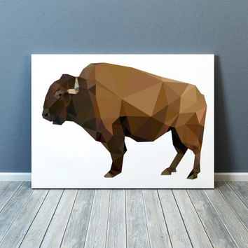 Bison poster Modern decor Animal print Buffalo art TOA24