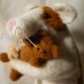 Life Size Rat and his Teddy Bear, Brown and White Rat Needle Felted