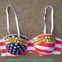Studded Bustier Bra Top American Flag Print  - Silver- Gold - or- Black Studs