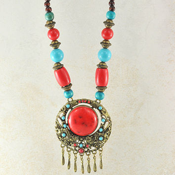 Rani Turquoise and Coral Statement Necklace