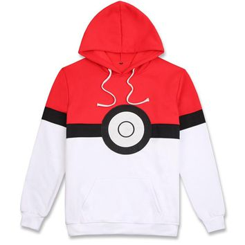 Pokemon Pokeball Cosplay Costume Women Men Hoodie Sweatshirt