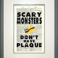 Scary Monsters Don't Have Plaque- Monsters Inc. Typography Print on Vintage Dictionary Page, Mike Wazowski, James P. Sullivan, Kid decor