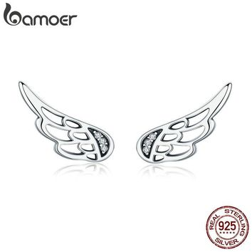 BAMOER Genuine 925 Sterling Silver  Feather Fairy Wings Stud Earrings Silver for Women Fashion Silver Jewelry BLACK FRIDAY DEAL