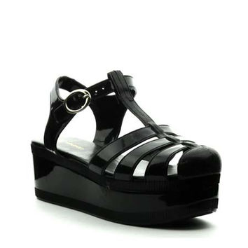 Black Platform Jelly Vintage Sandals