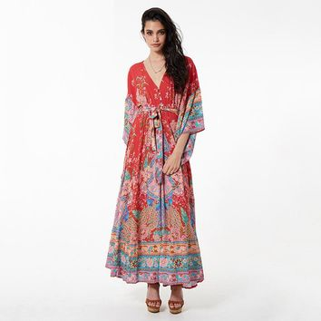 Women Boho Dress Gypsy Collective Gown Long Dresses Lace Up V-Neck Flare Sleeve Spell Design Bohemian Maxi Dress Summer New