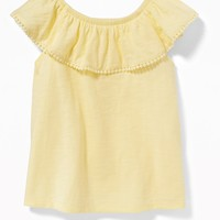 Slub-Knit Off-the-Shoulder Pom-Pom Top for Toddler Girls|old-navy