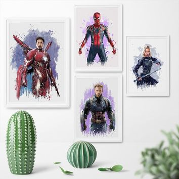 Watercolor Superhero Canvas Painting Spider-Man Captain America Iron Man Movie Poster Print Wall Art Picture Home Decor