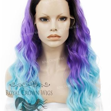 """24"""" Heat Safe Synthetic Lace Front """"Ada"""" with Wavy Texture in Rooted Purple to Blue Ombre"""