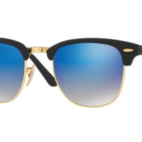 Ray Ban Clubmaster Folding Sunglass Matte Black with Blue Flash Mirror Gradient Lens RB2176 901S7Q