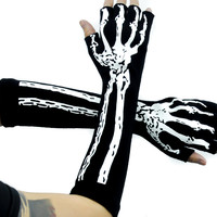 Skeleton Fingerless Gloves Gothic Deathrock Punk Rock Arm Warmers