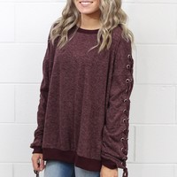 Mineral Washed Lace Up Drawstring Sleeves Sweatshirt {Maroon}