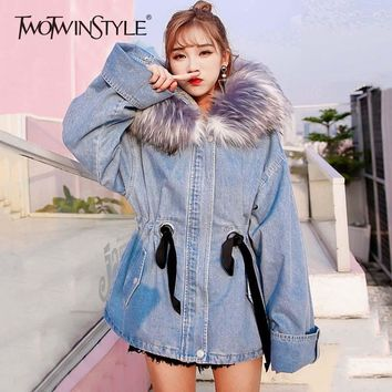 TWOTWINSTYLE Denim Lace Up Tunic Bomber Jackets With Fur Hoodies Women Winter Thick Warm High Waist Jeans Coats Female Casual
