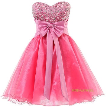Short Sweet 16 Dress Pink Sweetheart Organza Mini Prom Cocktail Cute Homecoming Dresses / Party Dress