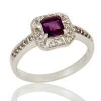 925 Sterling Silver Amethyst And White Topaz Gemstone Halo Style Ring