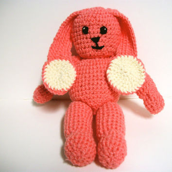 Crochet Plush Bunny Rabbit Pink and Cream by RopeSwingStudio