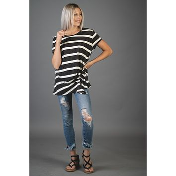 Black and White Striped Top with Gathered Front
