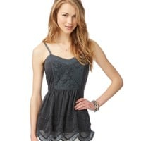 Sheer Lace Inset Tunic