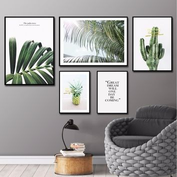 Nordic Abstract Wall Art Leaves Wall Pictures For Living Room Cactus Home Decorations Pineapple Canvas Painting Poster No Frame