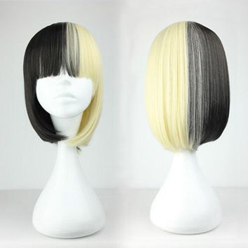 New Fashion 45cm Pop Bob Haircut Haif White And Black Mixed Color Gothic Lolita Wig,Colorful Candy Colored synthetic Hair Extension Hair piece 1pcs WIG-227A