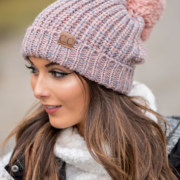 CC Two Toned Knit Fold Over Puff Beanie (Rose & Grey)