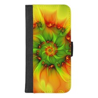 Hot Summer Green Orange Abstract Colorful Fractal iPhone 8/7 Plus Wallet Case