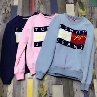 ONETOW Tommy Hilfiger Jeans Fashion Long Sleeve Pullover Top Sweater Sweatshirt
