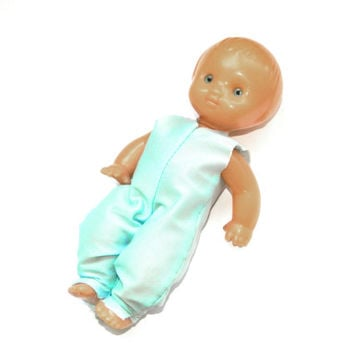 Vintage soviet doll-Russian vintage toy-USSR Soviet doll-Collectibles-Baby Kids toy-Retro 1970s-turquoise-toys for baby-russia-dolls-decor