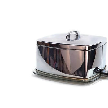 Locking Cake Cover Chrome Square Cake Cover Vintage Cake Platter Glass Cake Cover