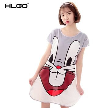 Sexy Cute Summer Dress Women Girls Sleeveless Cartoon Nighties V-neck Cartoon Nightgown Nightdress Sleepwear Nightwear Evening