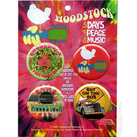 Woodstock - 3 Days of Peace & Music Button Set on Sale for $4.99 at HippieShop.com