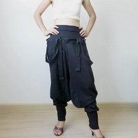 06,Trousers Bib Ninja Pants Suspender, Gaucho Unisex, Ribbed Cotton In Black Colour.