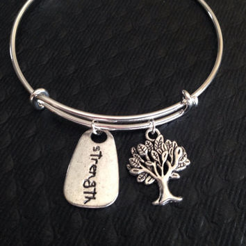 Strength Stamped Charm Tree of Life on a Silver Expandable Wire Bangle Bracelet Meaningful Gift Adjustable One Size Fits All Trendy