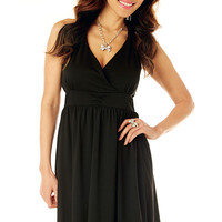 Perfect Boho-Style Little Black Dress with V-Neck and Empire Waist