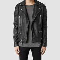 Mens Kane Leather Biker Jacket (Black) | ALLSAINTS.com