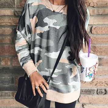 New Khaki Camouflage Long Sleeve Round Neck Casual Sweatshirt