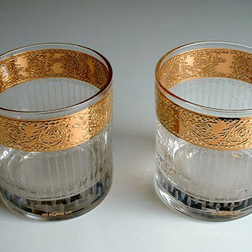 Vintage Culver Tyrol Glasses Set of 2 Hollywood Regency Gold Rocks Low Ball Mid Century