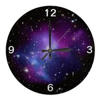 Purple Galaxy Cluster Wall Clock from Zazzle.com